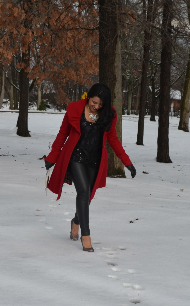 Holiday Outfit: Leather & Sequins