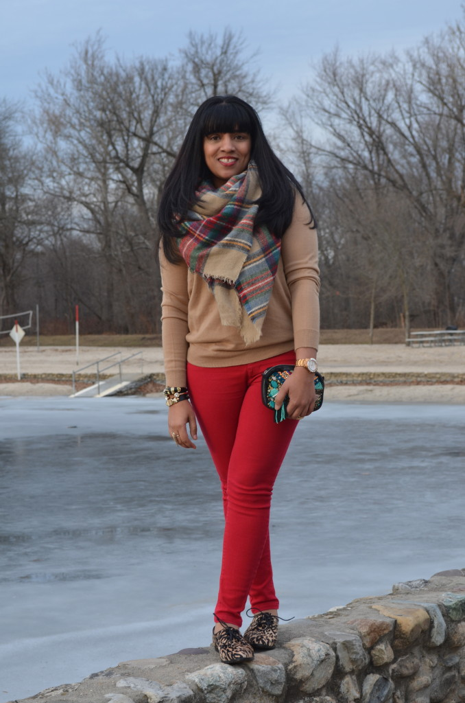 Outfit: Red Jeans + Tan Sweater