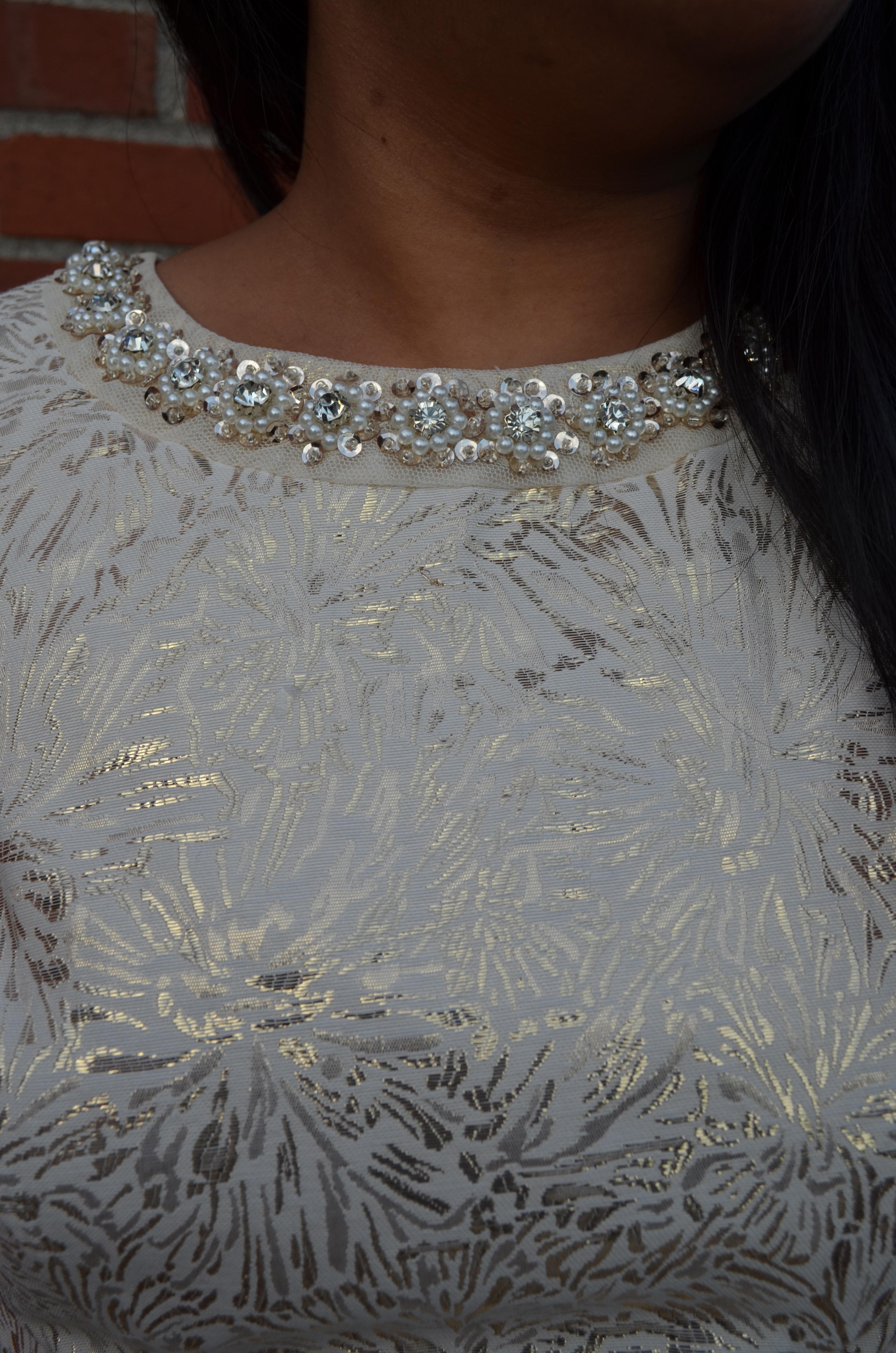 Bejeweled Neck Dress