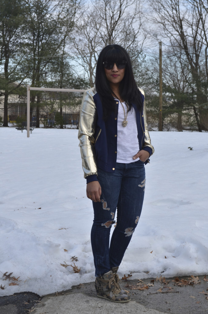 Outfit: Metallic Sleeve Bomber