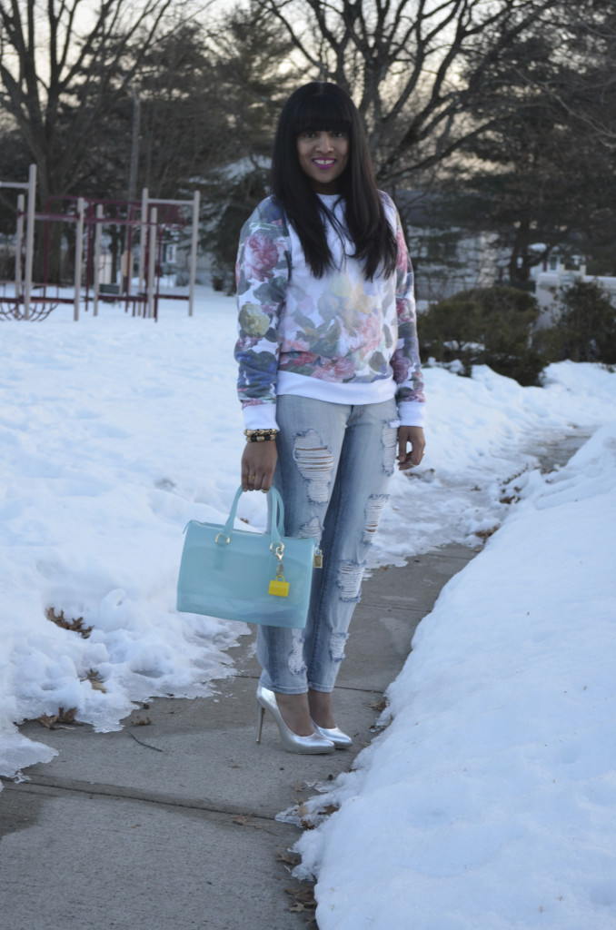 Floral Sweatshirt + Galian Handbags Giveaway