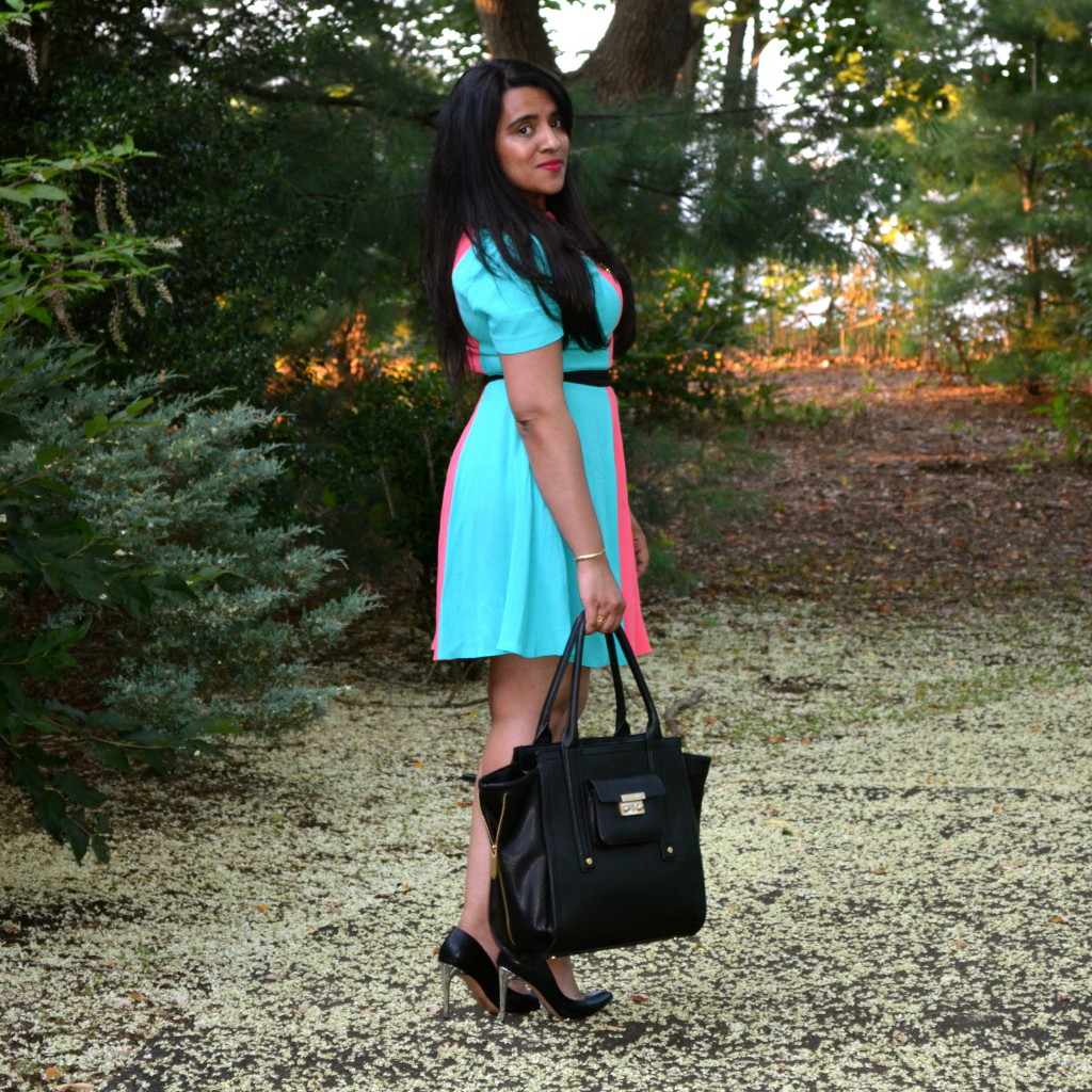 Turquoise Color Block Dress