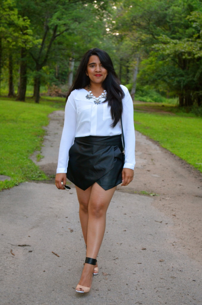 Outfit: Faux Leather Skort
