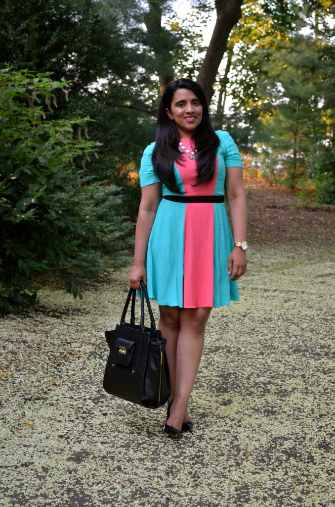 Outfit: Coral Color Block Dress