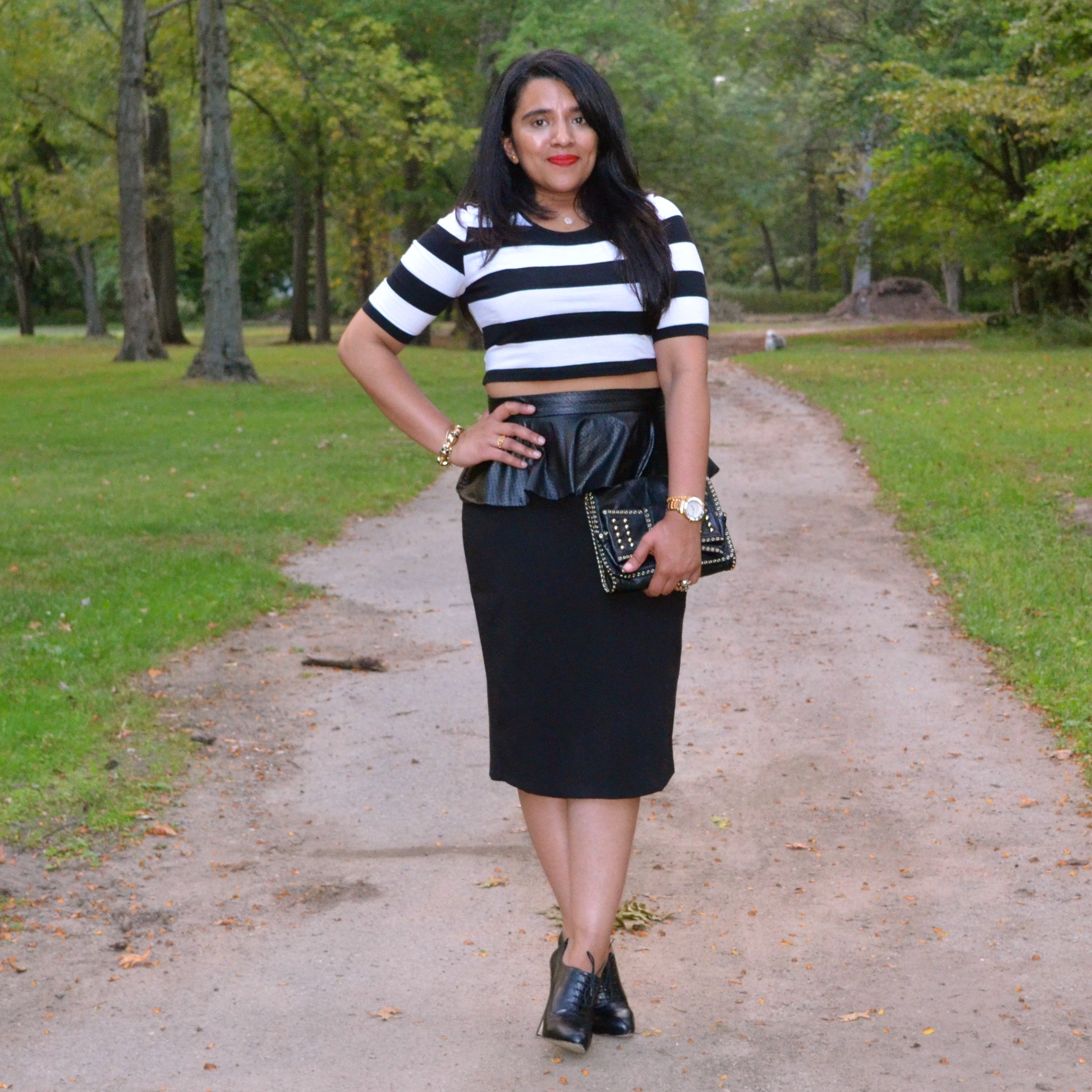 Outfit: Leather Peplum Skirt