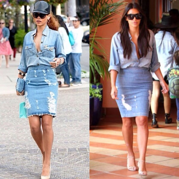 Rihanna denim on denim outfit