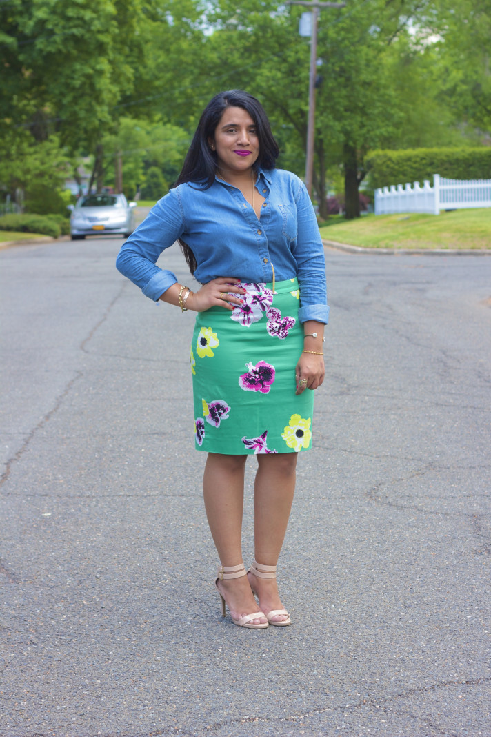 denim-shirt-pencil-skirt