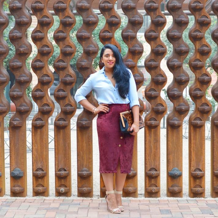 burgundy-velvet-skirt