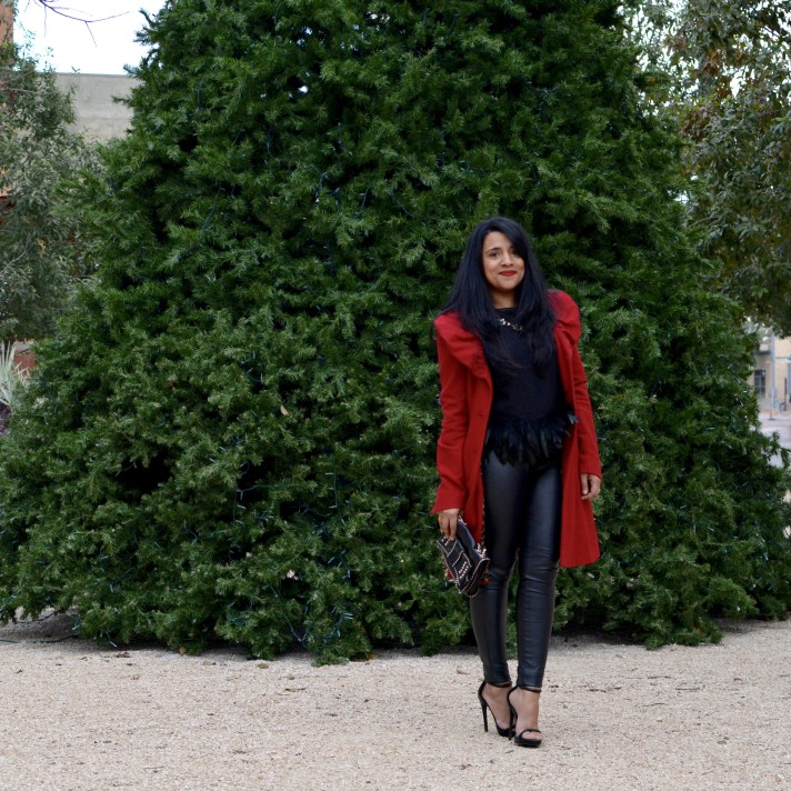 Leather & Feathers | Holiday Party Outfit