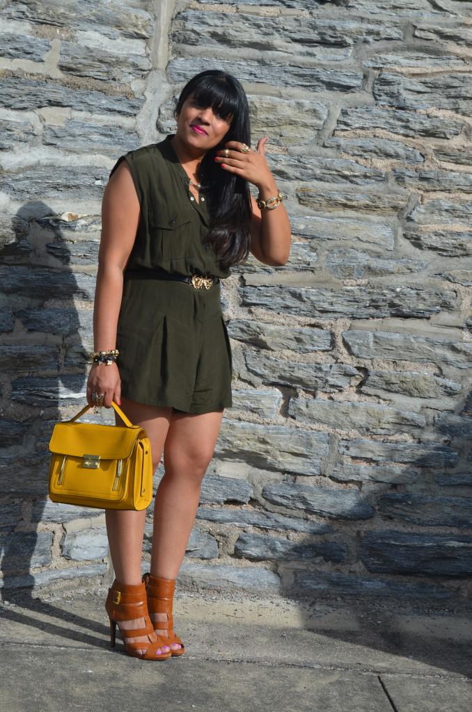Outfit: Olive Romper & Phillip Lim x Target Bag