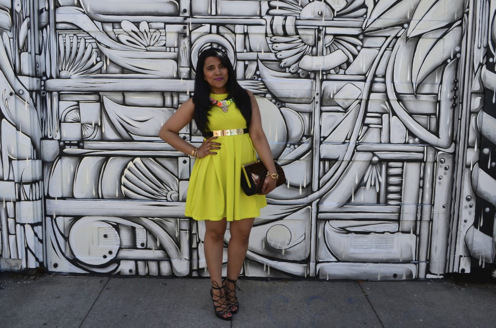 Neon Fit & Flare Dress
