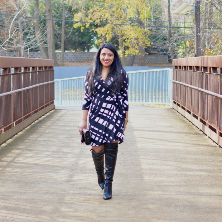 Wrap dress and boots