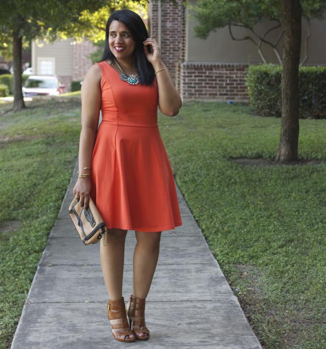 orange-fit-flare-dress